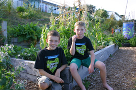 Josh Tristram and Angus MacKay in their amazing school garden at Raumati South